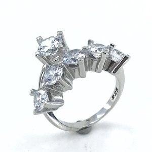 Tween modelo duplo dibs noivado anel de casamento anel de prata