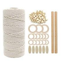 74 pçs diy cabo de macrame corda de algodão natural com anel de madeira vara cabo trançado mordedor macrame kit parede pendurado planta cabide
