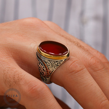 Stamped Ring. Jewelry Agate Aqeeq Silver Men with 925-All-Sizes/are-Available Men's