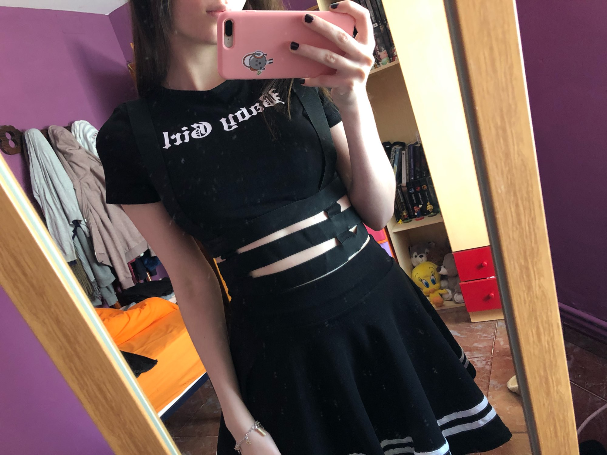 Black Top with Bandages and Letter Print photo review