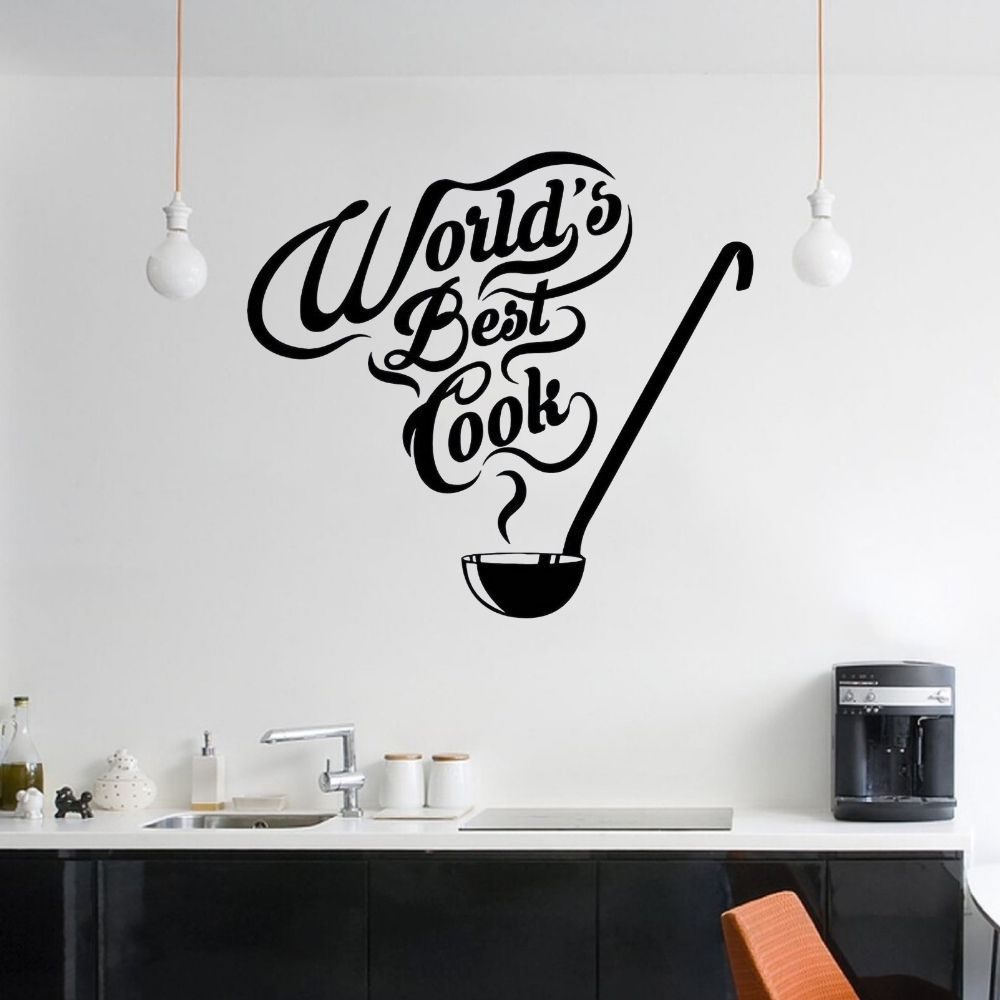 World Best Cook Kitchen Quotes Wall Art Decal Kitchen Sticker For Home Kitchen Decoration Removable A002738 image
