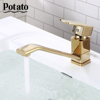 Potato Basin Faucets Gold  Faucet Bathroom Sink Faucet Single Handle  Mounted Hot And Cold Mixer Water Tap p45226-4 smesiteli rose gold bathroom basin faucet 100% brass single handle cold and hot water mixer brushed gold rose tap