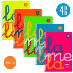 Notepad wire helix Lamela-Tamaño Folio Cover Fluor Plastico-80 sheets color 4mm 90g (Pack 5 Notebooks))
