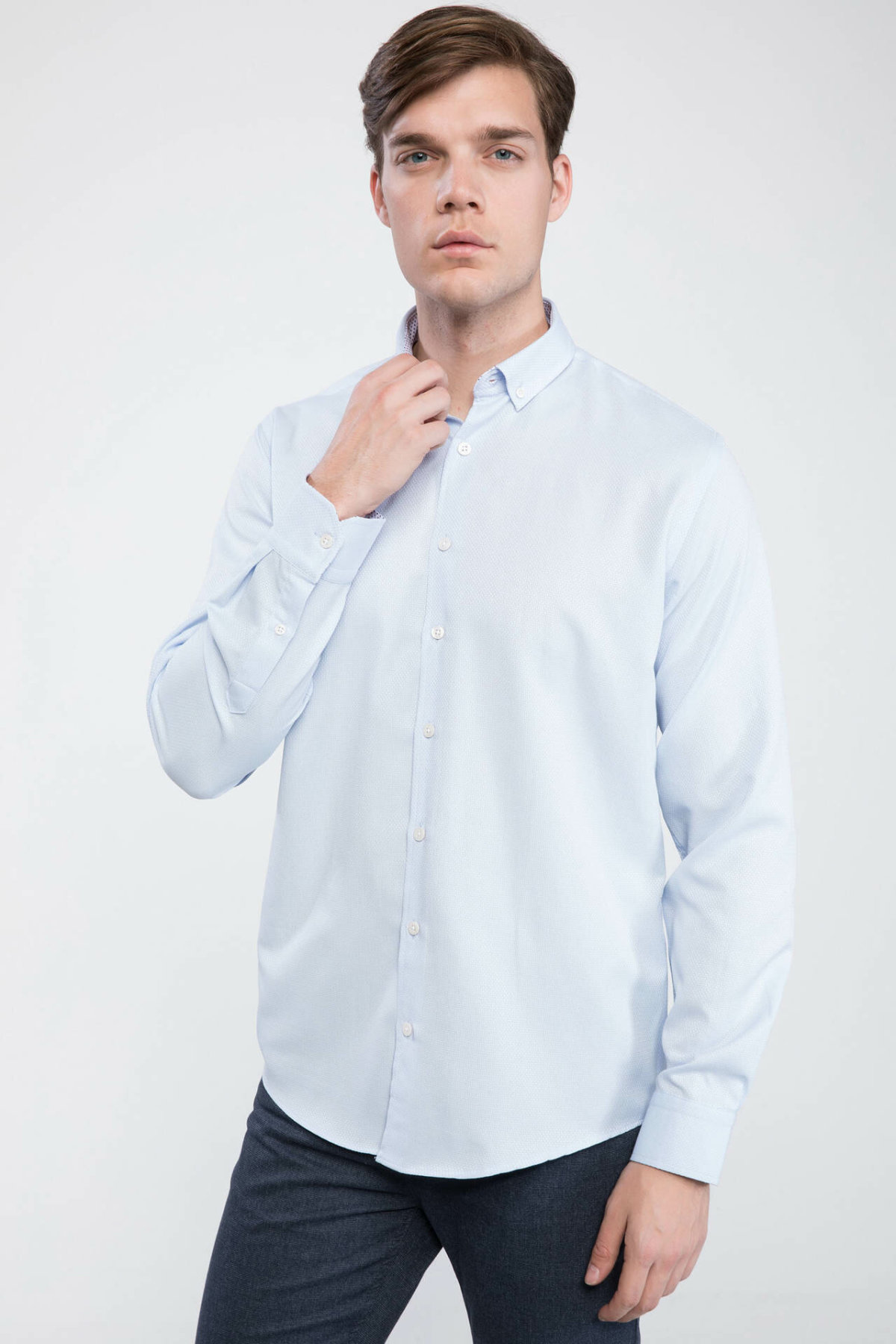 DeFacto Men Formal White Shirt Smart Casual Woven Top Long Sleeve Shirt Office Business Wear Top Shirt Cloth J9647AZ19SPWT34-J9647AZ19SP