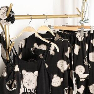 Image 3 - Пижамный комплект JRMISSLI из 7 предметов, 100% хлопок, пикантная женская ночная рубашка, домашняя одежда, осень 2019, женские шорты, штаны