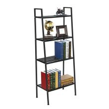 Metal Ladder Shelf 4-Tier Bookshelf Ladder Shaped Plant Flower Stand Rack Black Metal Frame Furniture