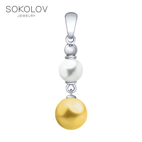 Pendant SOKOLOV From Silver With Swarovski Crystals Pearls Fashion Jewelry 925 Women's Male