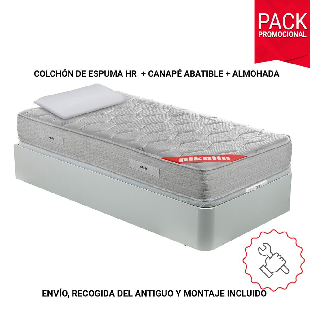 PIKOLIN Pack viscoelastic mattress foam HR, white flip-down Base with pillows fiber I mounting and removal included-0