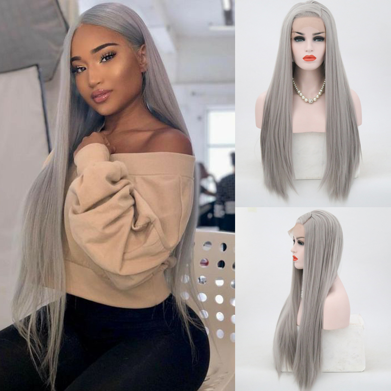 Charisma High Temperature Hair Synthetic Lace Front Wig Full Gray Wig Cosplay Long Straight For Women Heat Resistant Wigs
