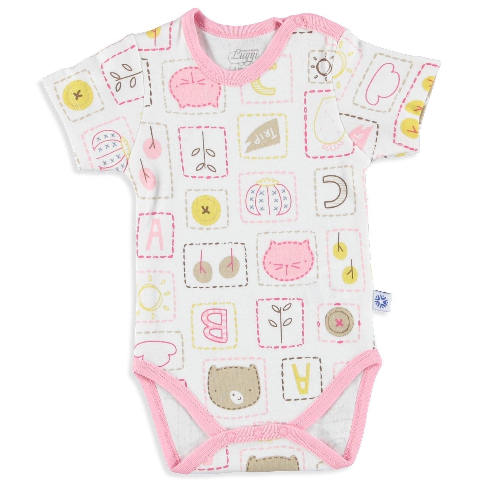 Ebebek Luggi Summer Baby Girl Friends Short Sleeve Bodysuit