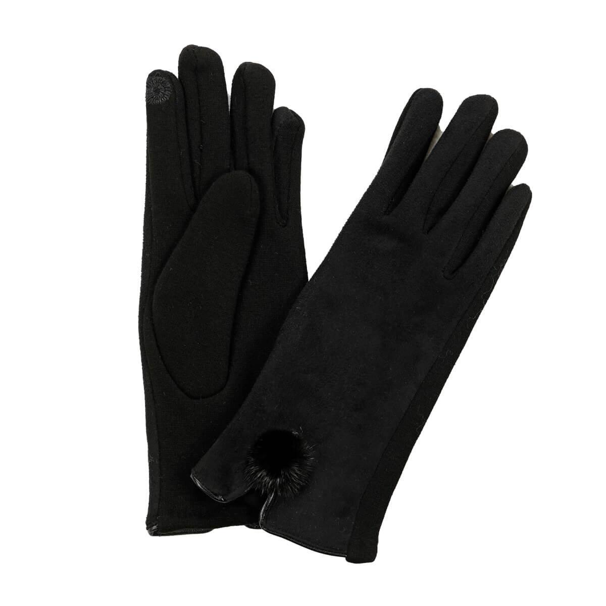 FLO BLACK POMPON GLOVES Black Women 'S Gloves Miss F