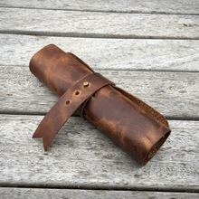 Genuine Leather Roll Pen Holder Brown Handmade Personalized Name-Written Pencil Bag Case Businessman Student Stationery Cosmetic New Style Retro Pem PO Stationery School Supplies Makeup Pencil Diy