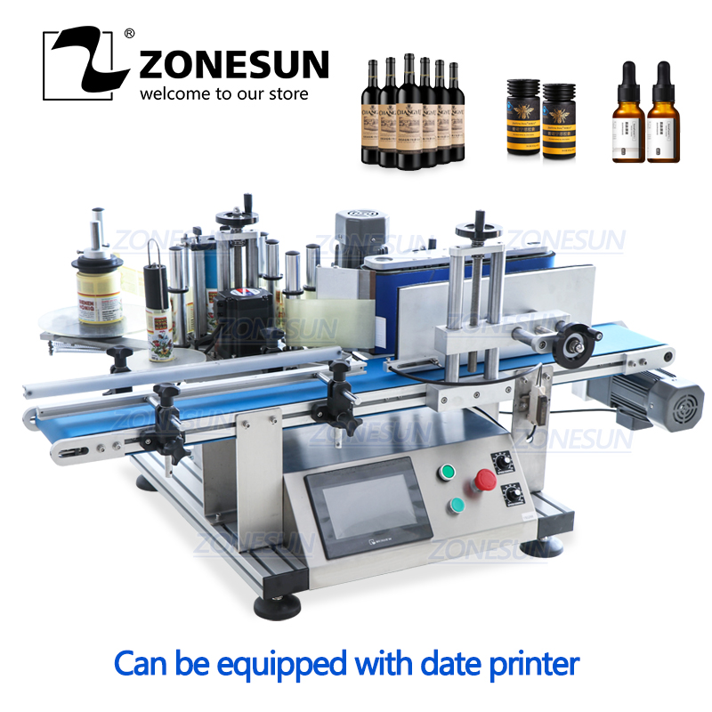 ZONESUN Full Automatic Desktop Round Glass Wine Alcohol Disinfectant Fruit Can PET Bottle Labeling Machine Printing Machine