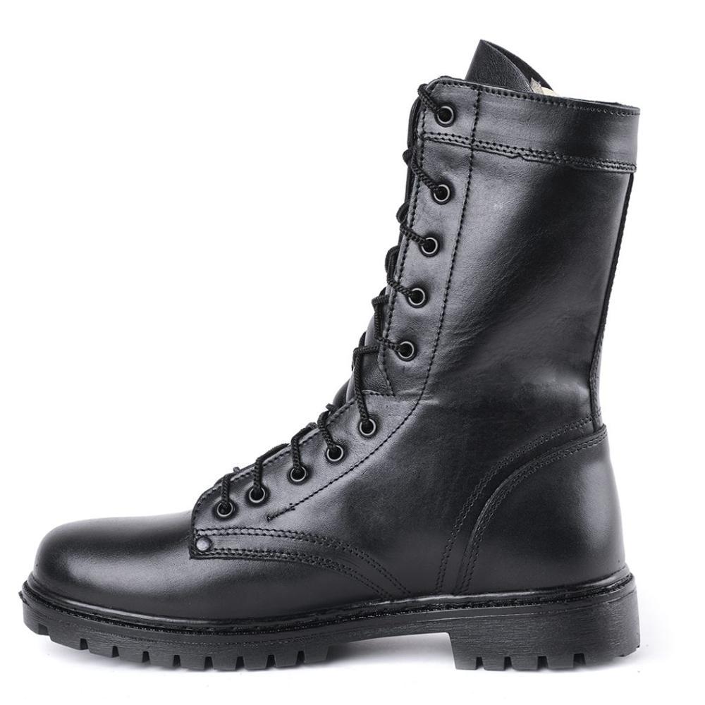Demiseason couro genuíno preto ankle boots homens sapatos altos plana botas militares 0049 \ 11wa