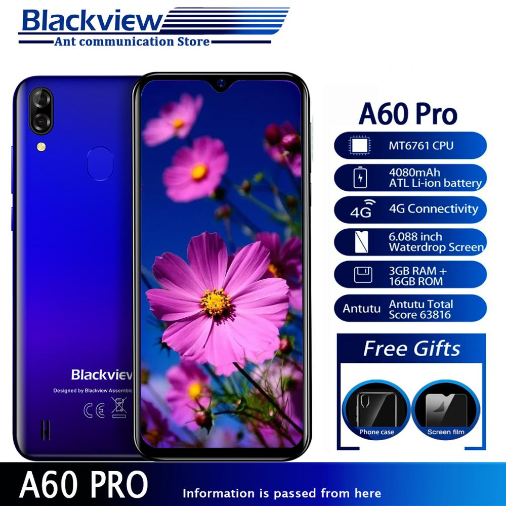 Blackview A60 Pro Телефон Android 9,0 Pie 4080 мАч 3 Гб 16 Гб rom смартфон полный экран MT6761V четырехъядерный 8MP экран Двойная камера 4G