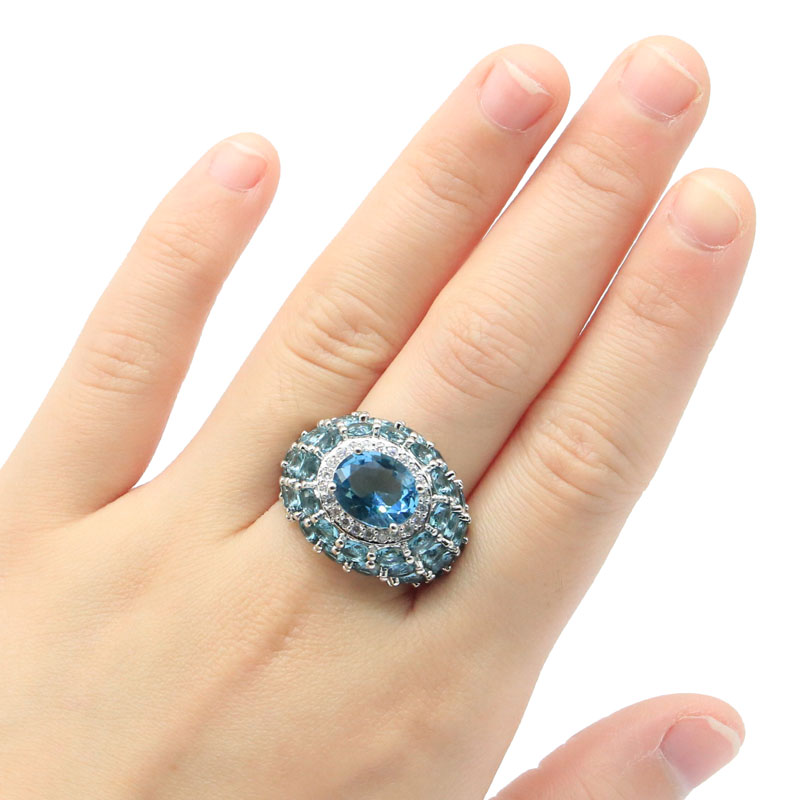 26x19mm SheCrown Infinity Anniversary Created Londno Blue Topaz Silver Rings for Women Silver Fine Jewelry Drop Shipping