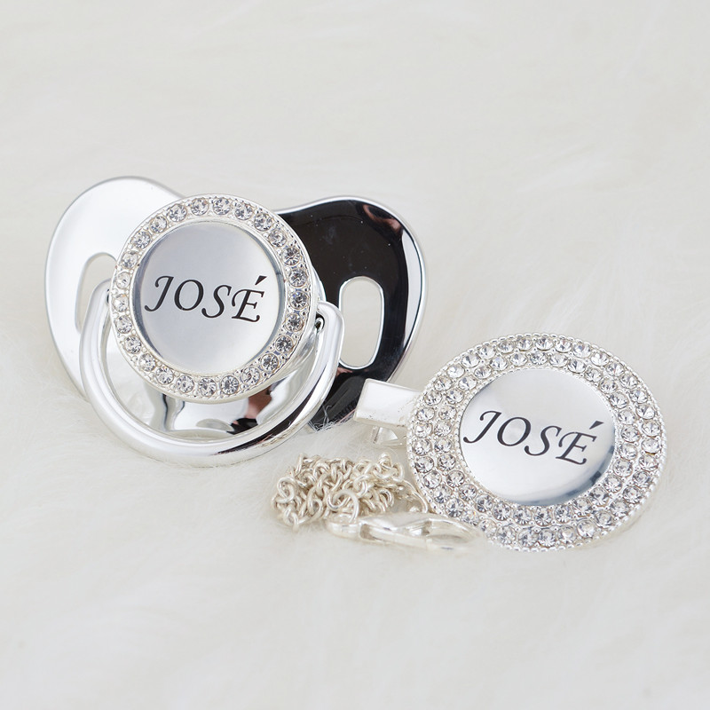 MIYOCAR Personalized Any Name Can Make Silver Bling Pacifier And Pacifier Clip BPA Free Dummy Bling Unique Design P9