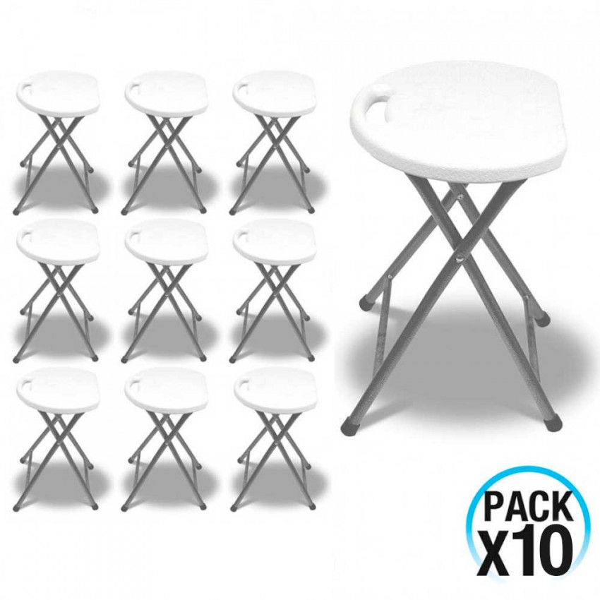 MegaPack 10 Folding Stools Resin And Steel 31x45cm