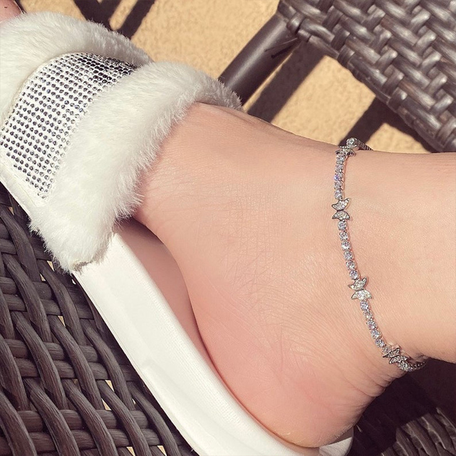 New Luxury Rhinestone Butterfly Anklet Bracelet Wholesale for Women Indian Barefoot Ankle Beach Accessories Tennis Anklet Chain 2