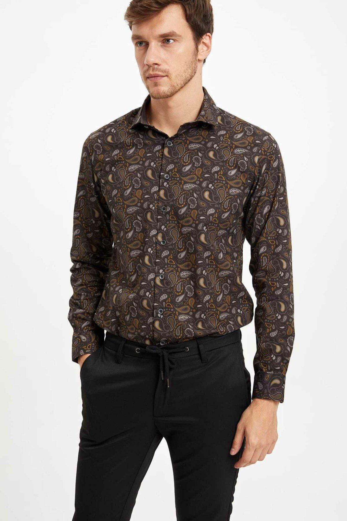 DeFacto Man Winter Vintage Prints Top Shirts Men Casual Long Sleeve Shirt Male Smart Casual Top Shirts-M2851AZ19WN
