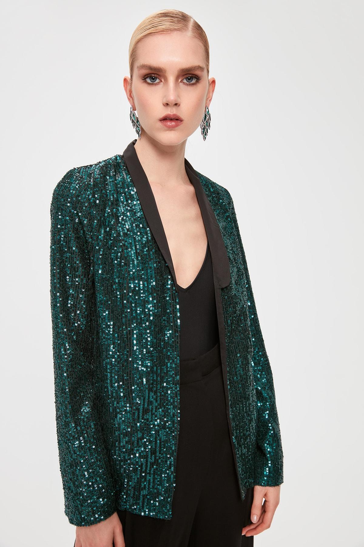 Trendyol Girdle Detail Sequin Jacket TPRAW20CE0291
