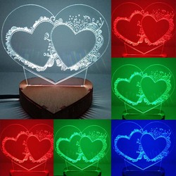 N-030 Two heart in heart-3D USB led Eco-friendly lamp night light, hand, table night light, home decor,