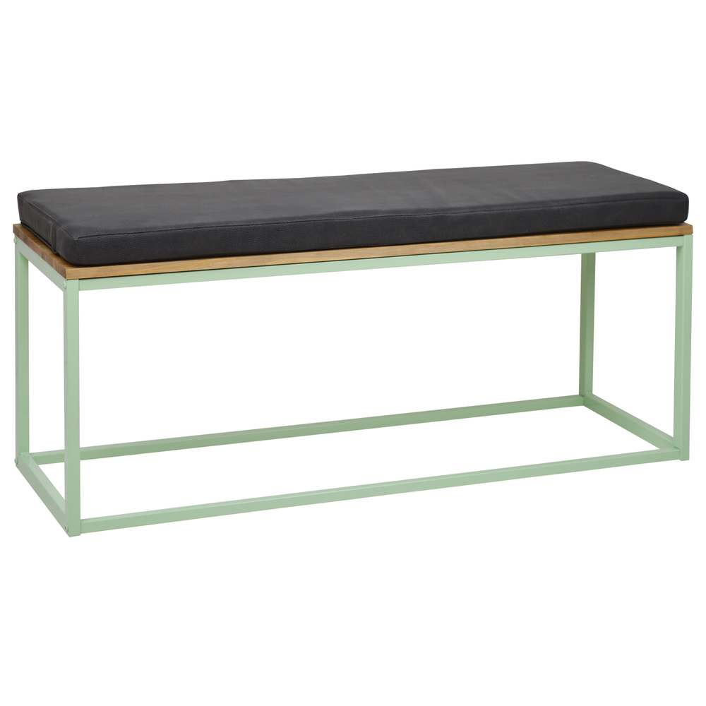 Bank iCub with Cushion Leatherette Limited Edition 120X40X51 cm Vintage Effect Dark Gray Mint Green   - title=