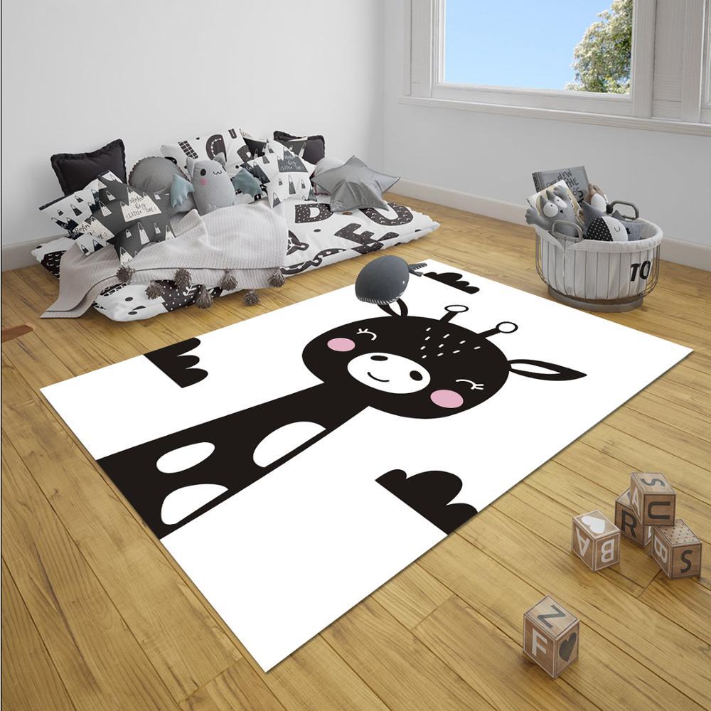 Else Black White Giraffe Animal Nordec Unisex 3d Print Non Slip Microfiber Children Baby Kids Room Decorative Area Rug Mat