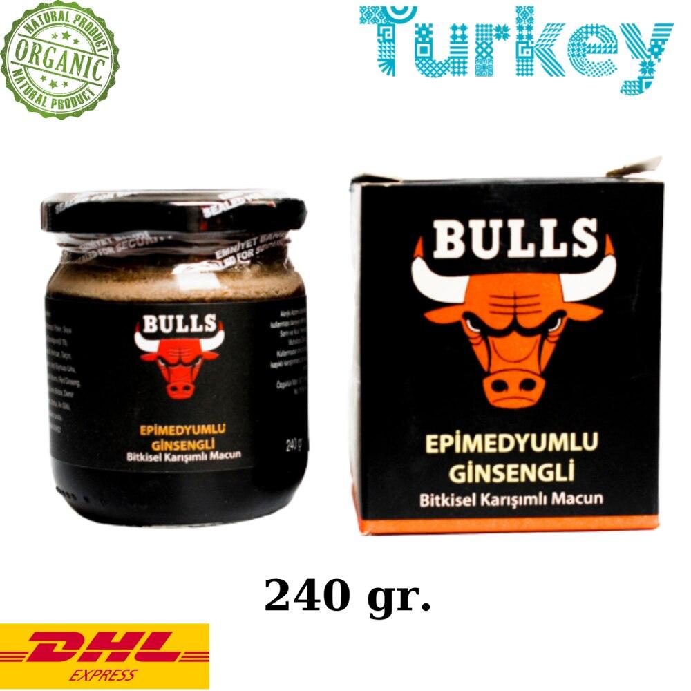 Bulls Natural Epimedium Ginseng Turkish Honey Mix – Turkish Paste, 240gr Herbal Aphrodisiac– Turkish Paste,  %100 Halal