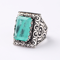Handmade Mens Silver Light Green Paraiba Tourmaline Ring, Man 925 Silver Ring, Rectangular Tourmaline Ring
