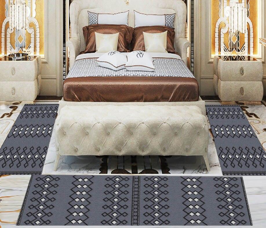 Else 3 Piece Black White Authentic Bohemian Turkish Print Non Slip Microfiber Washable Decor Bedroom Hallway Area Rug Carpet Set