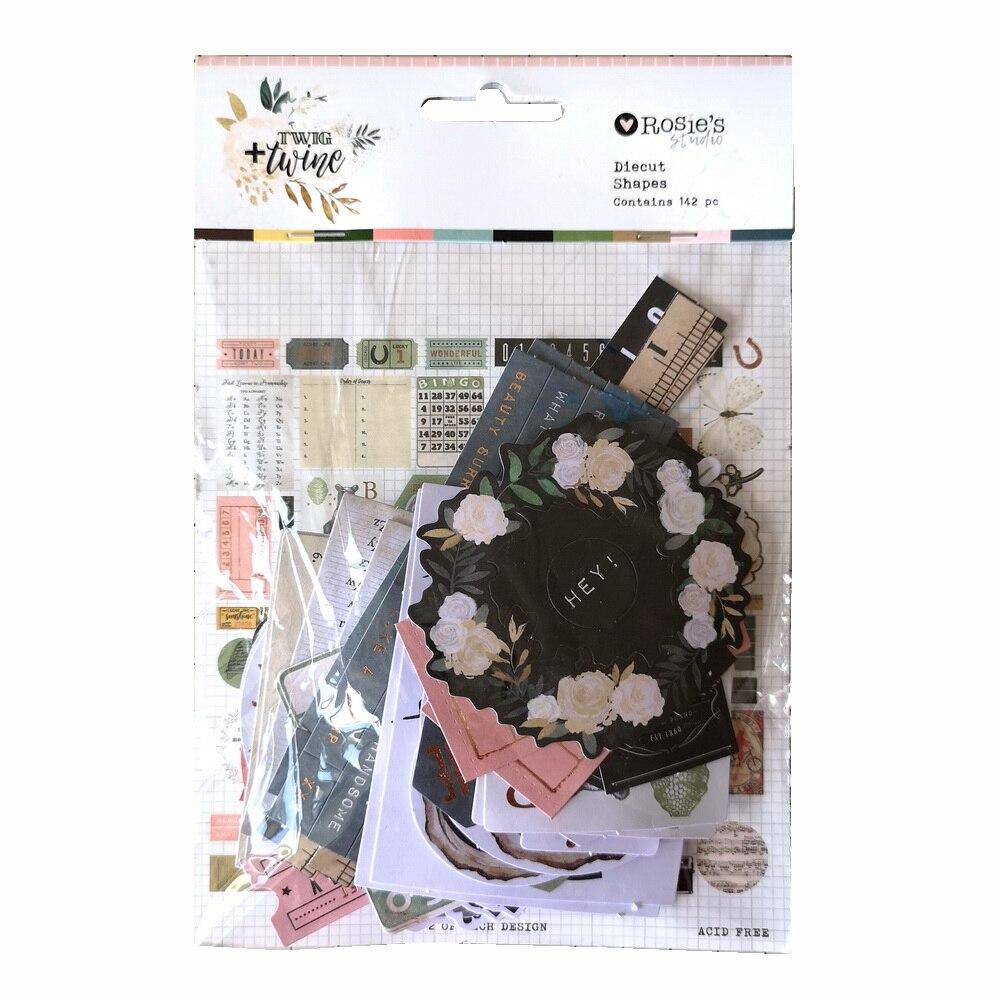 CRZCrafter 142pcs Printed Paper Diecut Shapes Foil Design Scrapbooking Cardmaking Journal Embellishments Decorations