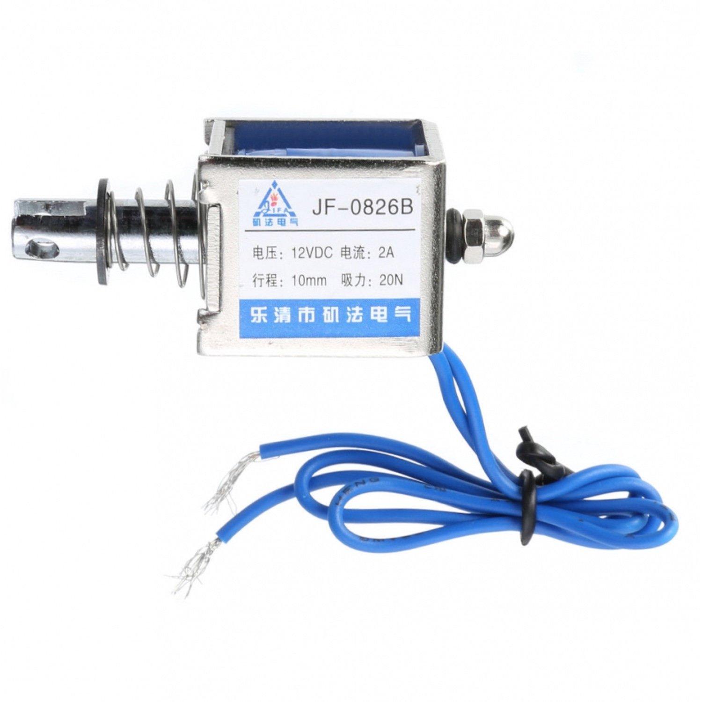 цена на JF 0826B DC12v Push Pull Type Open Frame Solenoid Electromagnet 10mm 20N-arduino