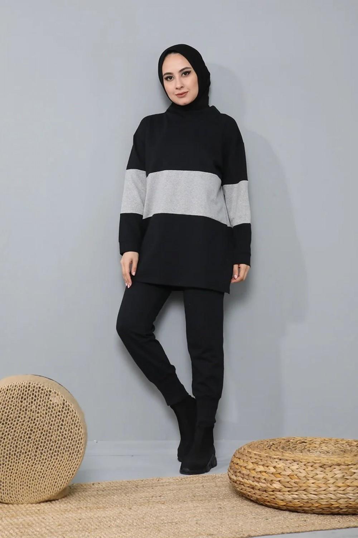 Hooded 2 Pieces Sports Women's Set, Shirt and Pant Double Suit Plus Size Islamic Fashion Muslim Clothing Turkey Dubai 2021
