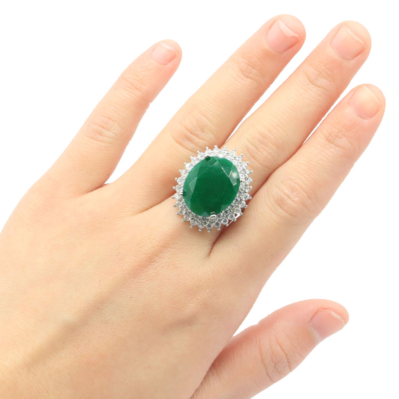 27x23mm Big Oval 18x13mm Real Green Emerald Created Blood Ruby CZ Woman's Silver Ring