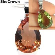 Большая капля 18x13 мм меняющая цвет шпинель подарок для девочек серебряный кулон 27x13 мм