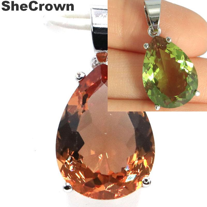 Big Drop 18x13mm Color Changing Spinel Gift For Girls Silver Pendant 27x13mm