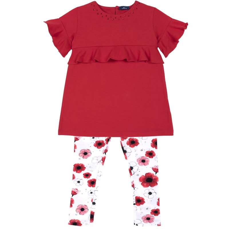 Фото - Set T-shirt and leggings Chicco, size 098, color red shoes velcro genuine leather chicco size 200 color blue and red