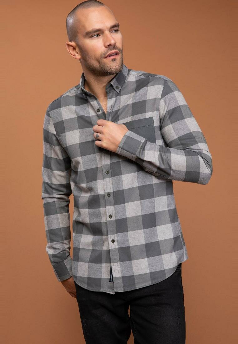 DeFacto Autumn Man Fashion Plaid Long Sleeve Shirt For Men's Casual Lapel Pockets Blousers Male Leisure Shirts - I9145AZ18AU