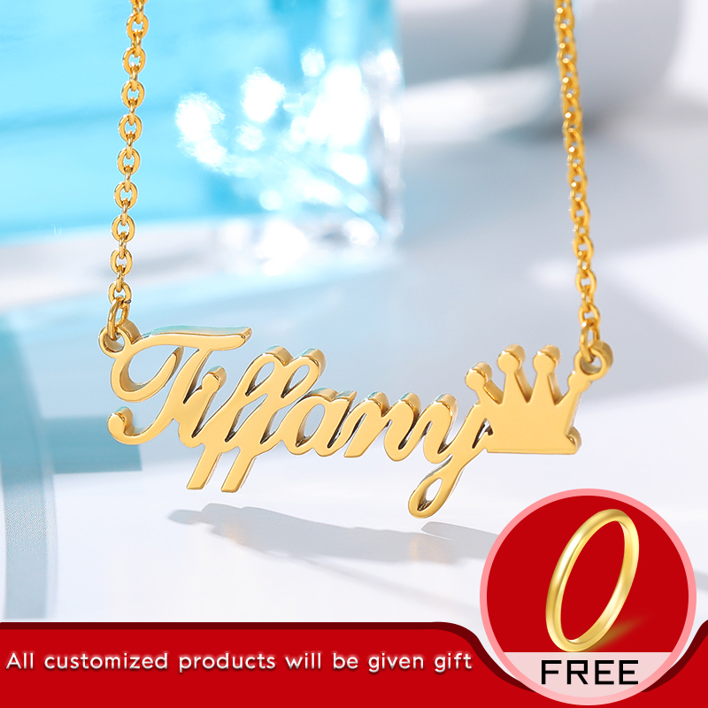Personalized Name Crown Necklace Customized Font Nameplate Pendant Stainless Steel Chain Jewelry Birthday Gifts Custom Necklace