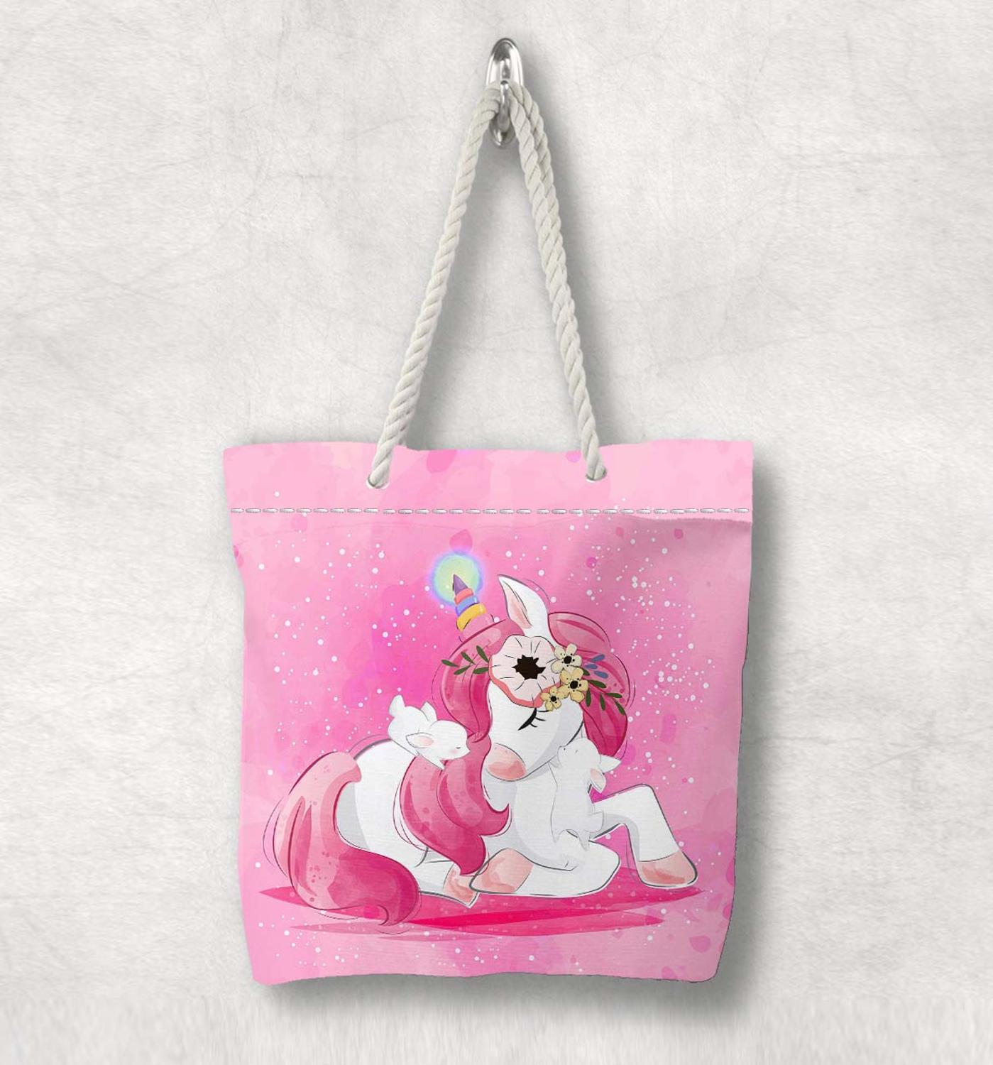 Else Pink Cute Sweet Unicorn Horses New Fashion White Rope Handle Canvas Bag  Cartoon Print Zippered Tote Bag Shoulder Bag
