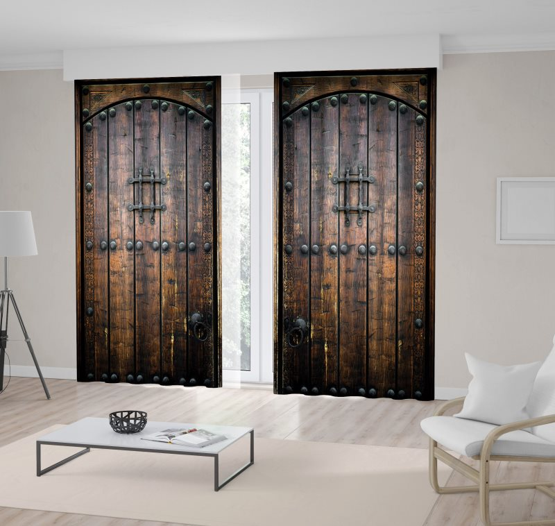 curtain ancient wooden door entrance of old house rustic countryside brown photo printed