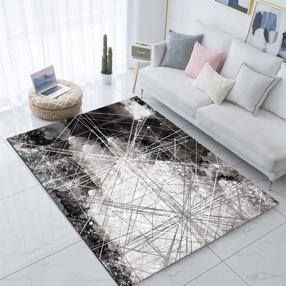 Else Gray White Geometric Nordec Scandinavian 3d Print Non Slip Microfiber Living Room Decorative Modern Washable Area Rug Mat