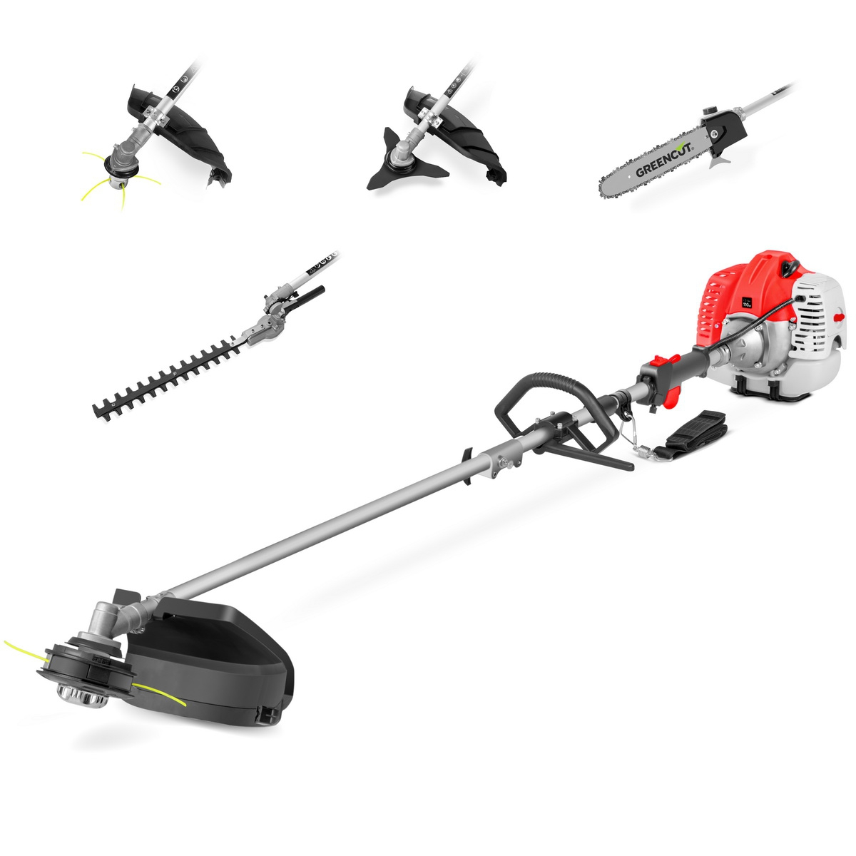 Tool Multifunction 5 In 1 GREENCUT, Gasoline 65cc, 5 Accessories, Brushcutter Function + Mower + Hedge