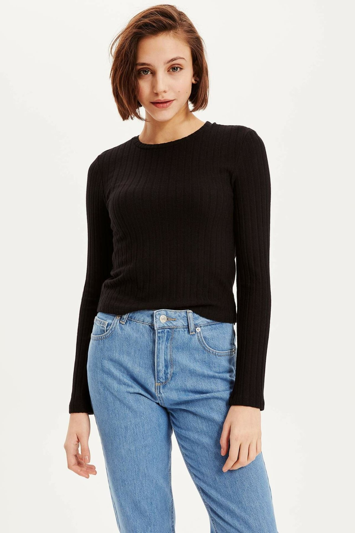 DeFacto New Women Black Fashion O-neck Casual Solid Sweater Slim Female Simple Knitted Sweaters Lady Autumn - K7937AZ18CW