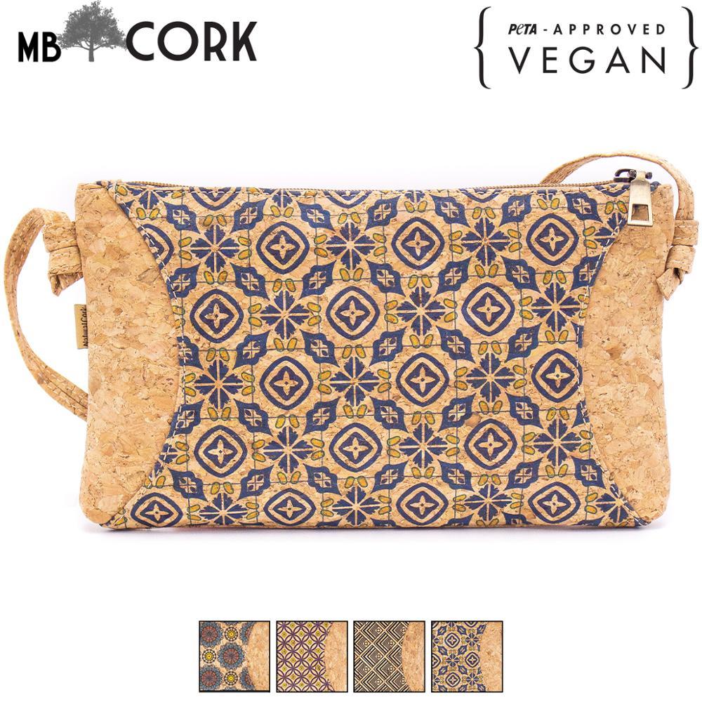 Natural Cork With Pattern Small Zipper Crossbody Purse Bag BAG-620