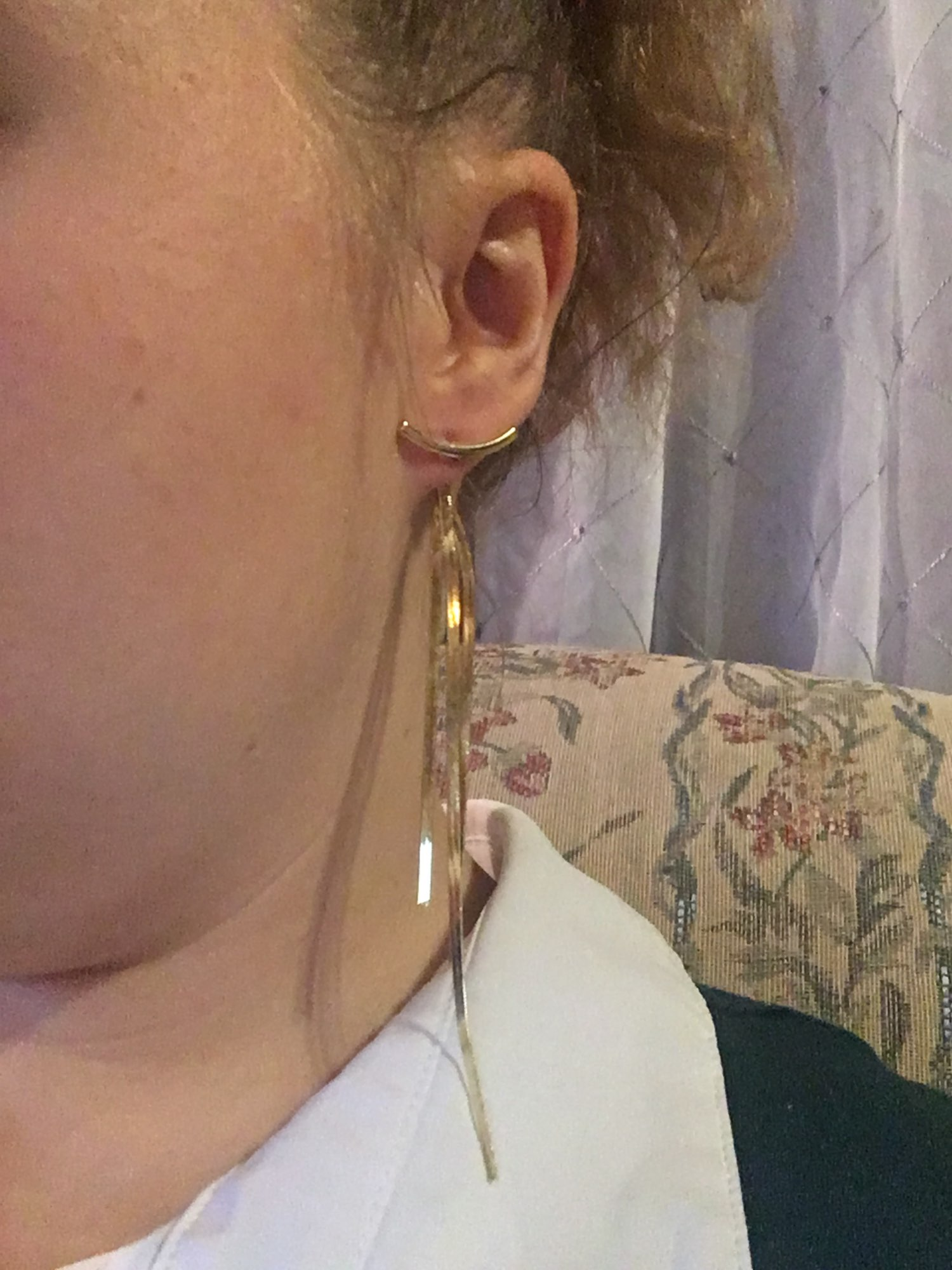 Vintage Gold Color Bar Long Earrings photo review