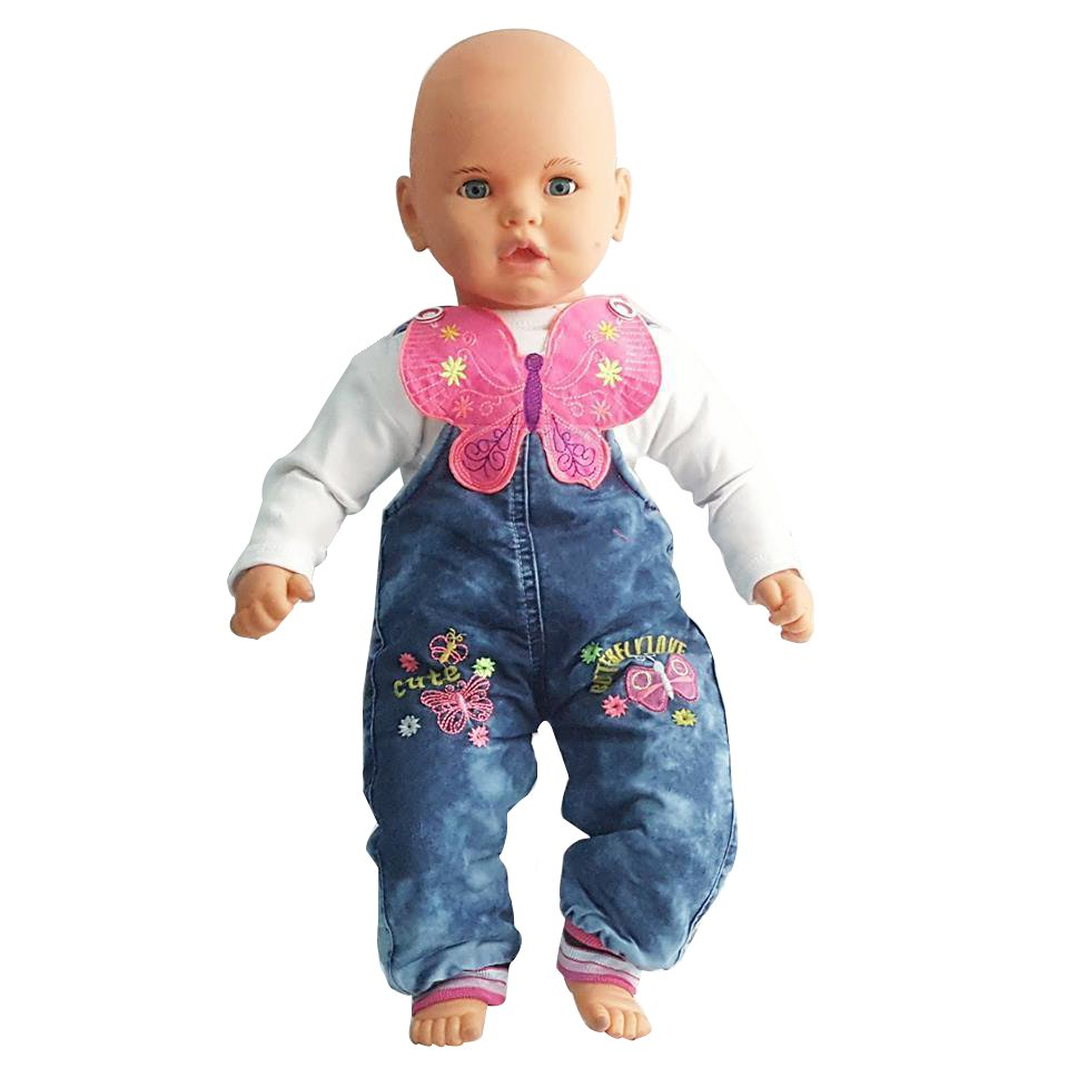 Butterfly Embroidered Badisiz Blue Baby Jeans Salopet Gardener Baby Rompers