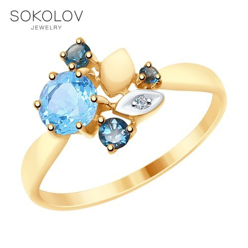 SOKOLOV Ring Gold With Blue And Blue Topaz And Cubic Zirconia Fashion Jewelry 585 Women's Male