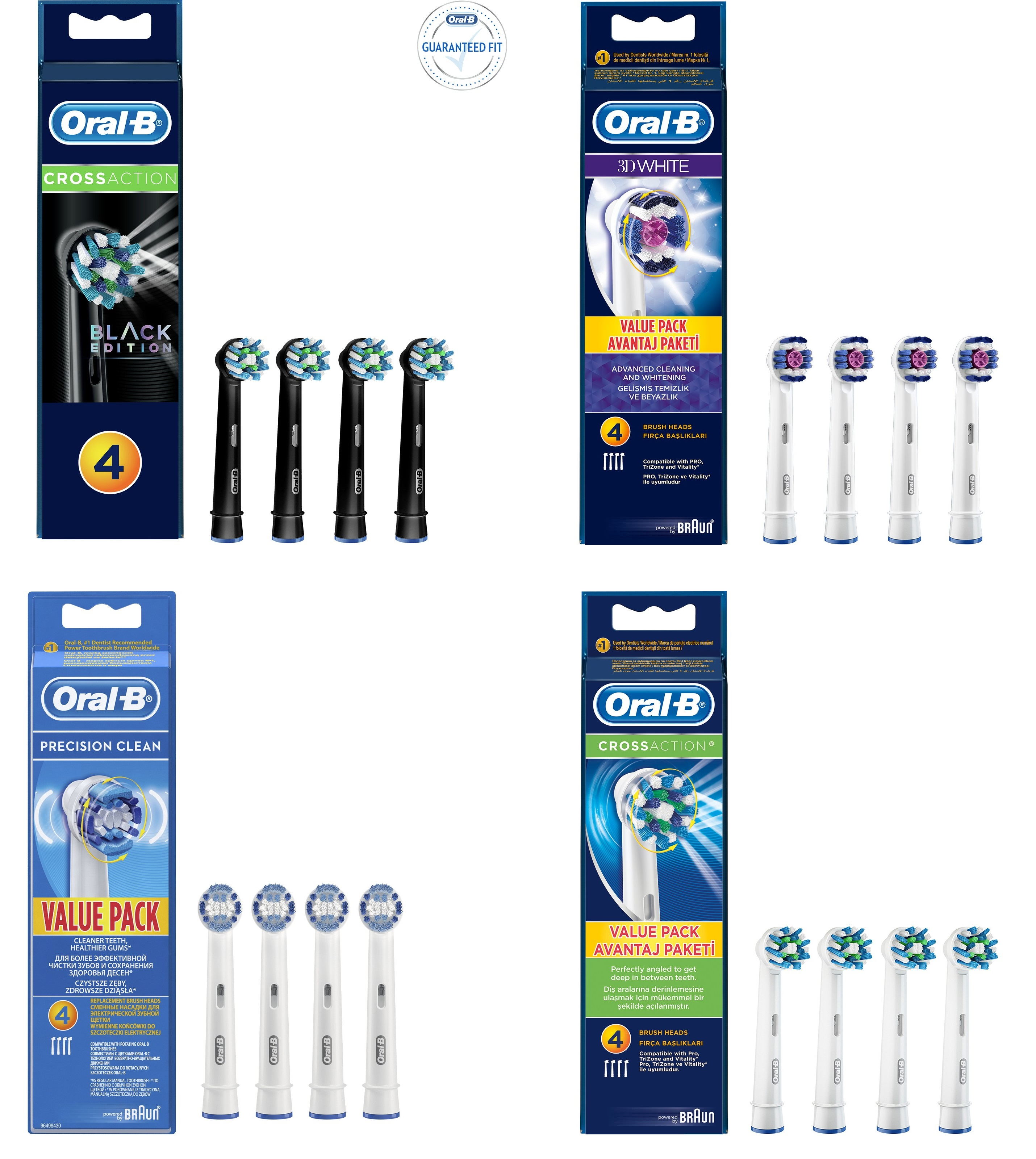 Oral-B Electric Replacement Toothbrush Heads Cross Action Black,3D White, Precision Clean,Cross Action image